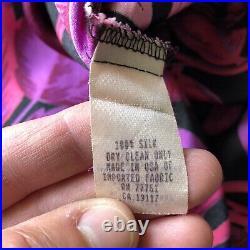 Betsey Johnson Vintage 90s Floral Silk Slip Dress Gorgeous! Size large