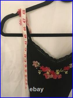 Betsey Johnson Vintage Black Silk Slip Dress Pink Organza Flowers womens size 6