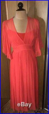 Betsey Johnson Vintage Maxi Silk Coral Sheer With Slip Kimono Sleeve Dress 6 8 M