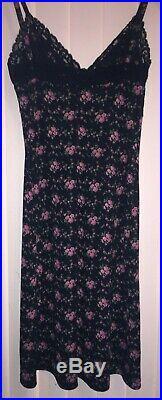 Betsey Johnson Vintage Never Worn Floral Print Black Slip Dress Size Small