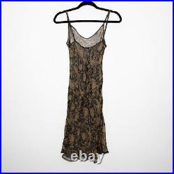 Betsey Johnson Vintage Paisley Silk Slip Dress Black Brown Sheer Midi Y2K S