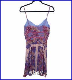 Betsey Johnson Vintage Slip Dress Size 10 Y2k 90s Purple Paisley