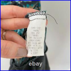 Betsey Johnson Vintage Y2K Black Floral Ruched Silk Midi Slip Dress 2000s Size 4