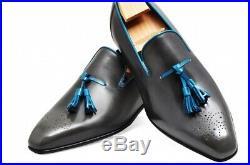 Black Color Loafer Slip Ons Blue Tassel Brogue Toe Vintage Leather Dress Shoes