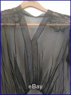 Black Edwardian Chantilly Lace dress w 34 with matching slip