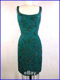 Black Tie Oleg Cassini 80s Dress Vintage 1980s Green Silk Cocktail Party Slip M