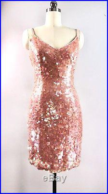 Black Tie Vtg 80s Dress Cocktail Party Slip Dress Pink Paillette Sequins 34bust