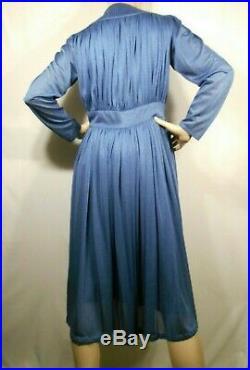 Blue Draped Silk Jersey Fabric Vintage RADLEY Midi Dress & Slip UK 14