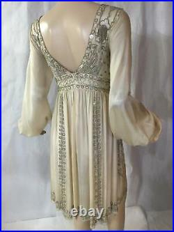 Blumarine couture boho mother of pearl silk bead vintage dress I40 excellent