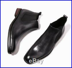 British Men's 100% Cow Leather Chelsea Boots Shoes Dress Formal Vintage Slip on