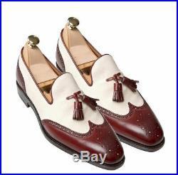 Burgundy White Tassel Loafer Slip On Brogue Wing Tip Suede Leather Dress Shoes
