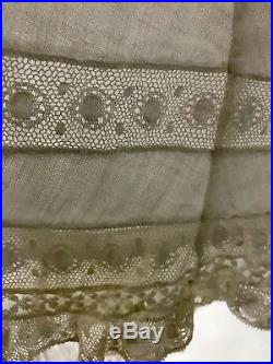 CA- Antique vtg Victorian Edwardian sheer white lace long slip dress gown XS/S