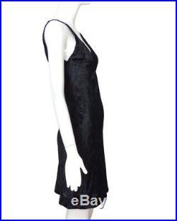 CALVIN KLEIN COLLECTIONS-1990s Black Voided Velvet Slip Dress, Size-6