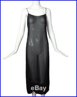 CHANEL-1990s Black Silk Chiffon Slip, Size-6