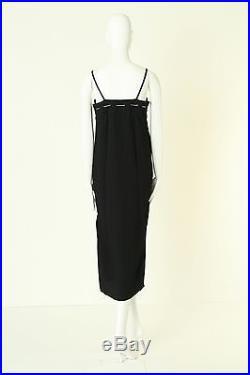 CHANEL Vintage silver chain CC embellished black rayon slip dress FR36 US2 UK6 S