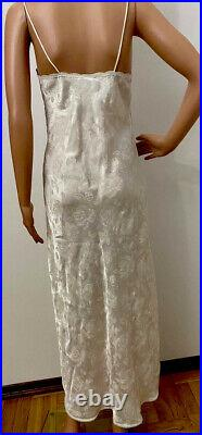CHRISTIAN DIOR 1970s White Slip Dress With Flower Print. Lace Insers Very Sexi