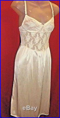 CHRISTIAN DIOR VINTAGE 70's Ivory Rose Lace and satin Slip Dress Sz Small