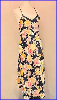 CHRISTIAN DIOR VTG Silky Bias Floral Print Polyester Lingerie Slip Dress Sz S