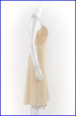 CHRISTIAN DIOR c. 1970s Nude Semi Sheer Signature Print Mesh Lace Slip Dress