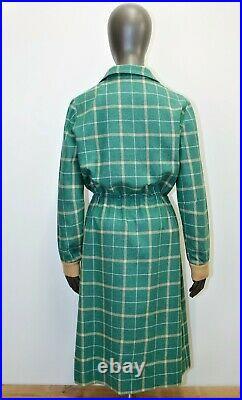 COURREGES PARIS Vintage 80s wool green slip dress 10US 42FR Made in France