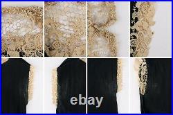 COUTURE c. 1920s Black Chiffon Silk Beige Lace Pintuck Flapper Dress Slip Set L