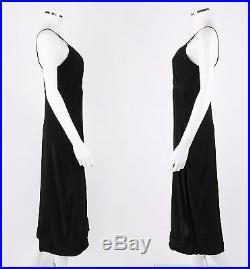 COUTURE c. 1930's BLACK LACE BIAS CUT VTG FULL LENGTH EVENING DRESS SLIP Size XS