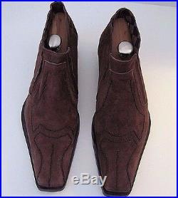 Carlo Ventura vintage Italian mens brown suede slip on shoes size 45