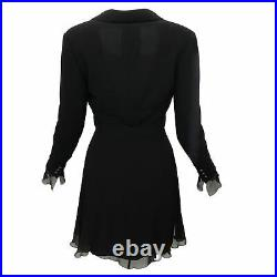 Chanel Vintage Black Wool & Silk Chiffon Jacket & Dress Set