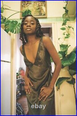 Charcoal tie-back Silk Slip Dress by Betsey Johnson, Vintage (M)