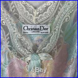 Christian DIOR Vintage Maxi Floral Lace Nightgown Slip Dress Size Large