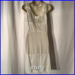 Christian Dior Bergdorf Goodman White Ivory Lace Bust Trim Slip Dress Gown 36