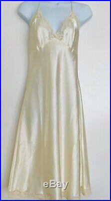 Christian Dior Cream Polkadot Satin Slip Dress Sz S