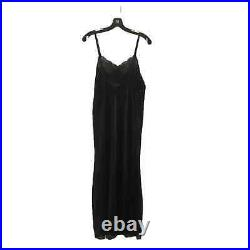 Christian Dior Vtg Long Lace Slip Night Dress L USA Polyester Side Slit Sheer