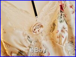 Christian Dior vintage silk satin floral lace pink floral slip maxi dress