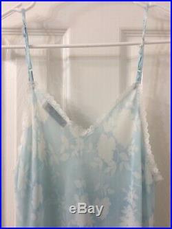 Christian dior Vtg Blue Floral Lace Slip Dress Sz S/M
