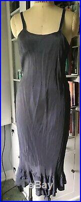 Comme des Garcons Vintage Silky Ruffled Slip dress SZ m. Grey