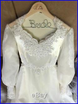 Custom Vintage Wedding Dress, Vale, & Slip Ivory / White (Approx. Size 10)
