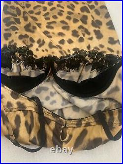 D&G DOLCE & GABBANA 1990s Stretch Leopard Print Bustier dress size Euro 44/ US 6