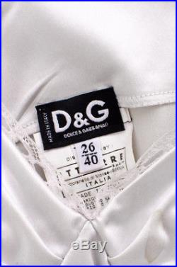 D&G DOLCE & GABBANA VTG Silver Grey Stretch Satin Sleeveless Slip Dress 40/4