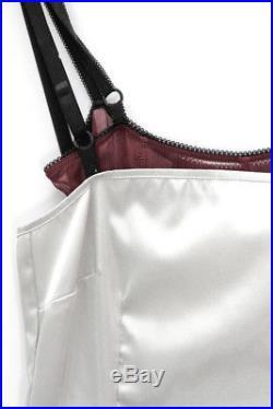 DOLCE & GABBANA D&G VTG Silver Burgundy Sheer Silk Layer Bustier Slip Dress 00/0