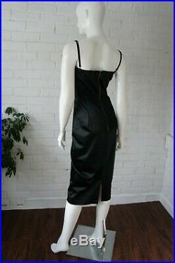 DOLCE & GABBANA Vintage 1990's Black Satin Stretch Slip Dress, Sexy Body Con Dre