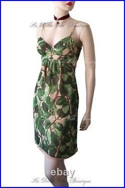 DOLCE & GABBANA vintage 1997 green leaf floral print DRESS size UK 6 US 2 38 DG