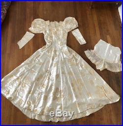 Dated 1940 Custom Made Cream Satin Wedding Dress Sleeves & Slip Sexy Button Back