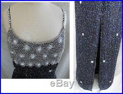 Deadstock with Tag Allover Bugle Beads Evening Gown Flowers Slip Dress NOS