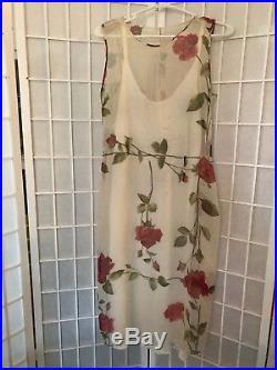 Dolce & Gabbana Vintage Rose Print Floral Silk sheer dress withslip Sz 42