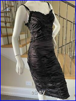 Dolce & Gabbana for D&G Sexy Vintage Black Silk Ruched Cocktail Dress