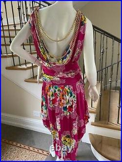 Dolce & Gabbana for D&G Vintage Floral Dress w Draped Gold Chain Details Sz 48