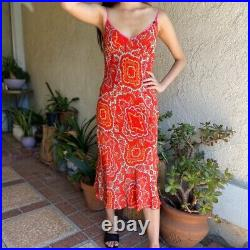 Dress Poleci Vintage Red Printed Silk Slip Dress