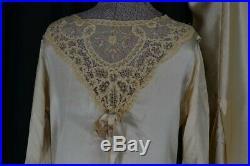Dress flapper 1920 slip bias cut satin lace wedding formal original antique