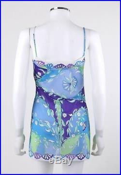 EMILIO PUCCI Formfit Rogers c. 1960's 2 Pc Blue Floral Print Shirt Slip Dress Set